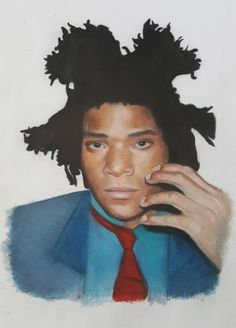 Amber Welch - Colored pencil drawing on paper. Portrait of Jean Michel Basquiat. (Link to portfolio):…