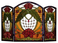 Stained glass fireplace cover
