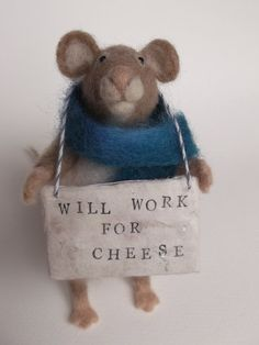 Reserved For Kris Needle Felted Homeless Mouse. Will Work For Cheese