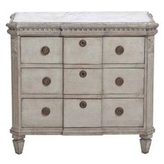 Swedish Gustavian Painted Breakfront Chest with Marbleized Top, 19th Century | From a unique collection of antique and modern commodes and chests of drawers at https://www.1stdibs.com/furniture/storage-case-pieces/commodes-chests-of-drawers/