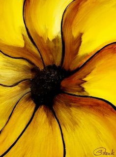 yellow.quenalbertini: Yellow & Black Flower Art