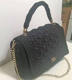 Women Crochet Bag Black Color Dolce Gabbana Style Polyester