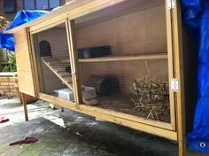 Rabbit hutch (mansion) long for exercise, narrow to easily catch, removable floors for easy cleaning, double story to utilize vertical space :-)