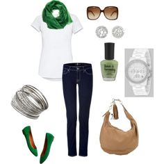 Luck of the Irish! Love the green for St. Patrick's Day!  I will not be pinched :)  Add the Gucci Handbag and sunglasses and I'm set!