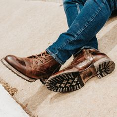 Vintage Genuine Leather Lace Up Boots Mens Shoes Boots, Men's Shoes, Shoe Boots, Mens Boots Style, Mens Fall Boots, Winter Boots, Leather Lace Up Boots, Leather Men, Outfit Vintage