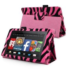 INSTEN For 2014 Amazon Kindle Fire HD 6 Folio Leather Case Smart Cover Stand Hot Pink Zebra - Walmart.com