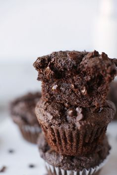 1-bowl vegan double chocolate muffins. Naturally sweetened, perfectly moist, chocolatey and they come together in 30-minutes!