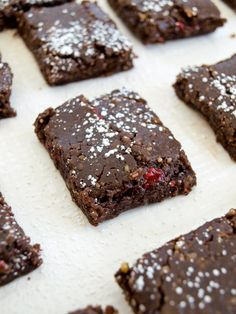 jam-filled raw fudge brownies--ready in less than 20 minutes.  Vegan, raw, gluten-free, grain-free, no oil or added sugar.  But you'd never know they are healthy. :)