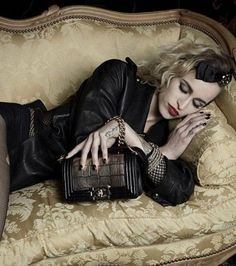 "Alice Dellal for Chanel's newest bag ""Boy Chanel"". Sleeping punk beauty. Just Love It."