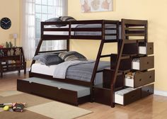 Jason Espresso Finish Twin Bunkbed 37015 $748  Description:  Designed to save space, this twin over full bunk bed is a perfect solution for your children's bedroom. The piece carries a rich espresso finish and offers durability as well as storage function. The full-length rails provide safety. The included staircase allows for easy access to the top bunk. Also, the staircase features drawers for additional storage and convenience.  Features :  Espresso Finish Twin Bunkbed  Bunkie Board