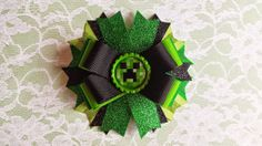 Minecraft Creeper Hair Bow for Girls by UniqueBowsAndBands on Etsy, $5.99
