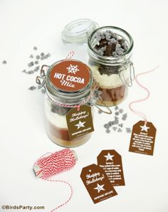 Hot Cocoa Mix Gift in a Jar with FREE Printable Gift Tags ! by Bird's Party