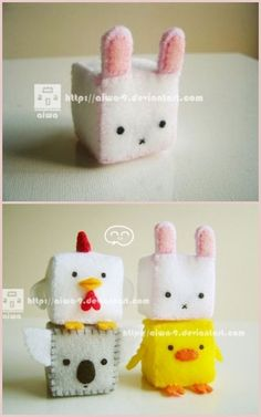 DIY Felt Cubed Bunny Plushie Keychain. Can make cube into monster etc... Go to her deviant art site here to see more: http://browse.deviantart.com/?qh===cubed+bunny+tutorial#/d1pb6ky #diy #crafts #felt #plushie #toy #sewing #keychain #bunny #bunnies #rabbits