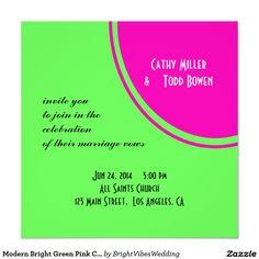 Modern Bright Green Pink Circle Wedding 5.25x5.25 Square Paper Invitation Card