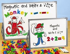 Lakeshore's Magnetic Write & Wipe Display Hooks let you organize & display classroom materials—from vocabulary word lists to math facts flash cards—on any magnetic surface!