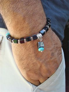 Men's Bracelet with Turquoise Hematite Black Carved by tocijewelry