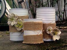 3 Rustic Centerpiece Vases