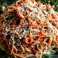 Debbie adds organic hemp seeds to spaghetti marinara instead of parmesan for a nutty/cheesy/crunchy taste and texture. #vegan #antiaging #superfoods