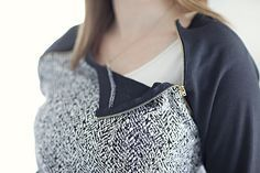 DIY nursing top. Add zipper to allow access. Zipper raglan nursing sweatshirt