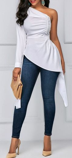 One Shoulder Asymmetric Hem White Ruched Blouse Diva Fashion, Cute Fashion, Fashion Looks, Fashion Outfits, Womens Fashion, Fashion Trends, Fall Outfits, Casual Outfits, Cute Outfits