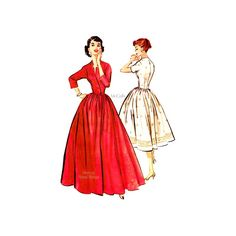 50s Womens Robe Dress Pattern McCall's 3598, Gathered Skirt in Two Lengths, Size 14 bust 32, 1950s Gorgeous Brunch Coat, Easy Sewing by VirtualVintage on Etsy https://www.etsy.com/listing/224208235/50s-womens-robe-dress-pattern-mccalls