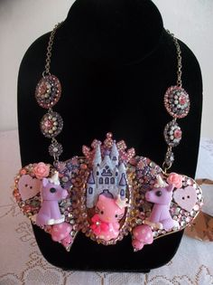 Kitty Kingdom bib style necklace by gumdropglamour on Etsy, $65.00