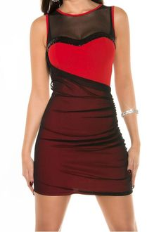 Mini robe bustier sequins noir & rouge TU 34/40 - bestyle29.com