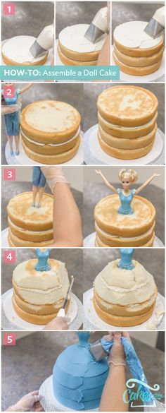 Make a doll cake by stacking cake layers until you reach your doll's hips. Then carve to create the shape of a skirt. Cinderella Doll cake topper from Cakes.com.