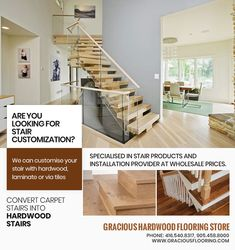 Are you looking for stair customization in Brampton? Gracious Hardwood Flooring Inc. can customise your stair with hardwood or via tiles and specialised in stair products and installation provider at wholesale prices. PHONE: 416-540-8317, 905-458-8000 EMAIL: GRACIOUSHARDWOOD@YAHOO.COM Cheap Hardwood Floors, Hardwood Stairs, Wood Stair Treads, Flooring Store, Carpet Stairs, Tiles, Phone, Home Decor, Products