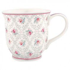 Tazza con manico Daisy by Greengate realizzata in ceramica con decorazioni sui toni del grigio e del rosa. Ideale in abbinamento anche alla collezione Marie PG.