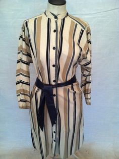 Earth Tone Striped 70s dress / 1970s cotton day dress by pdee5069, $9.89