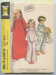 1970s McCall's 3798 Girls' Nightgown, Pajamas and Pajama Bag Vintage Sewing Pattern Size 8 Breast 27 UNCUT