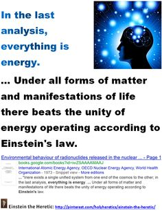 In the last analysis, everything is energy. ... Under all forms of matter and manifestations of life there beats the unity of energy operating according to Einstein's law.    ... International Atomic Energy Agency, OECD Nuclear Energy Agency, World Health Organization - 1973