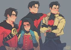 The Batboys. Nightwing, Red Hood, Red Robin, & Robin.