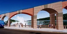 Niagara- Elementos arquitetónicos pintados no muro  foram usados  enquadrando a cena e reforçando a ilusão. ....by Eric Grohe