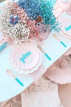 Take a look at this beautiful mermaid-themed birthday party! Love the table settings! See more party ideas and share yours at CatchMyParty.com
