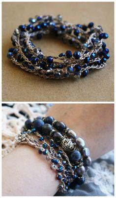 Bohemian Constellation 5x Wrap Bracelet, Boho Chic Gypsy Royal Blue Crystal Crochet Beadwoven Bracelet/Necklace
