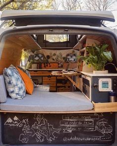 Campers are going to be able to take a seat in the chairs although you can't. This camper is ideal to secure you in the beach mood. Happier Camper adds some nostalgia by using their travel trailers with a distinctly… Continue Reading → Kangoo Camper, Kombi Home, Van Dwelling, Van Home, Camper Van Conversion Diy, Vw Conversions, Campervan Interior, Vw Bus Interior Diy, Van Living