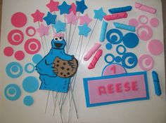 Cookie Monster Inspired  Fondant Cake Toppers by 1STOPPARTY