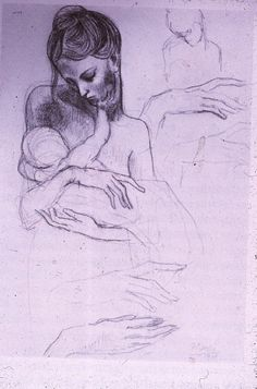 Mother and child study by Pablo Picasso Artist Sketchbook, True Art, Art For Art Sake, Heart Art, Mother And Child, Photo Art, Amy Carmichael, Modern Art, Art Drawings