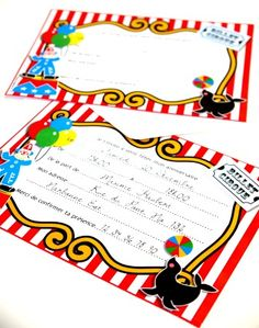 Invitations ou Faire-Parts Anniversaire Cirque