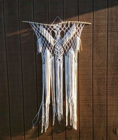 Large Macrame Wall Hanging / Fringe Headboard / Modern Macrame Tapestry / Bohemian Decor by WallHuggerHandmade on Etsy