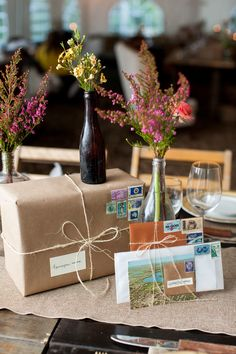 Want a new twist on the rustic wedding trend? Take a look at this vintage-inspired rustic snail mail wedding! Travel Centerpieces, Wedding Centerpieces, Wedding Decorations, Travel Decorations, Vintage Centerpieces, Vintage Travel Wedding, Rustic Wedding, Wedding Table, Travel Bridal Showers