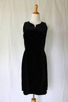 Vintage Laura Ashley Black Velvet Sleeveless Little Black Sheath Dress Small 4 #LauraAshley #Sheath #LittleBlackDress