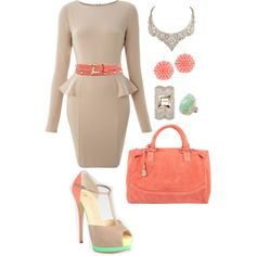 nude and coral by deschae on Polyvore featuring AX Paris, Giuseppe Zanotti, Vintage Princess, Liz Law, David Webb, Swarovski, Adina Mills and Witchery