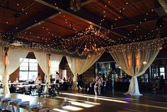 Get Lit Claire Chandelier surrounded by a canopy of twinkle lights at The Rickhouse.