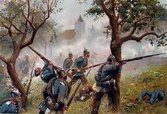 Guerra alemana de 1866: Batalla de Sadowa, 3 de julio de 1866. El 1er Regimiento de la Guardia toma Chlum por asalto, (los ejércitos prusianos bajo H. v. Moltke derrotan al principal ejército austríaco bajo L. A. v. Benedek.) Litografía de color, alrededor de 1890, de Richard Knotel. http://www.elgrancapitan.org/foro/viewtopic.php?f=21&t=11680&p=916269#p916228
