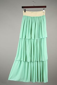 Ruffle Skirt in Mint from Dainty Jewell's Boutique Collection. A lightweight, pretty skirt for carefree spring and summer days. Modest fashion, ruffles, lace, bridesmaid styles: www.daintyjewells.com