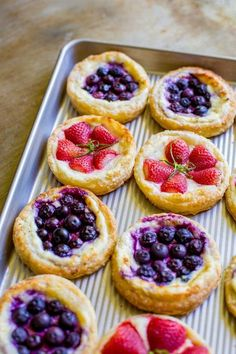 Blueberry and Strawberry Breakfast Pastries day brunch food tea parties Fruit & Cream Cheese Danish Pastry Cream Cheese Puff Pastry, Cream Cheese Danish, Cheese Puffs, Baking Recipes, Dessert Recipes, Breakfast Recipes, Dinner Recipes, Free Recipes, Party Recipes