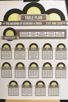 Wedding Table Plan Printed Vintage Vinyl Record Design